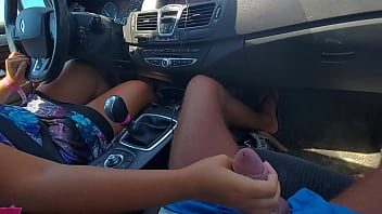 In traffic jams with my stepmom she ended up jerking off a virgin cock and cumming her pussy like a bitch