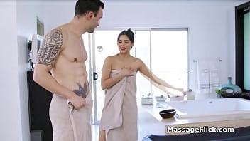 Banging oily Latina masseuse after session