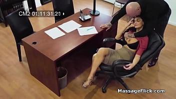 Horny boss busted on hidden cameras fucking his curvy secretary