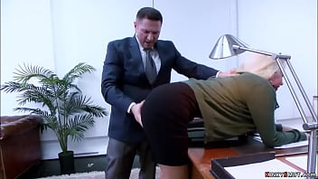 Boss John Strong and his employee Seth Gamble bound and gagged big tits blonde secretary Layla Price and double penetration fucked her in an office