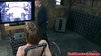 Bondage bdsm sub fucked by machine