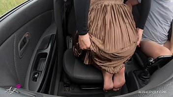 Amateur Couple Having Passionate Sex in the Front Seat Of Car in Field