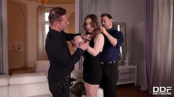 Double penetration of handcuffed brunette Lilit Sweet in hardcore fetish threesome