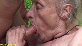 busty 85 years old mom fucked by her young toyboy in nature
