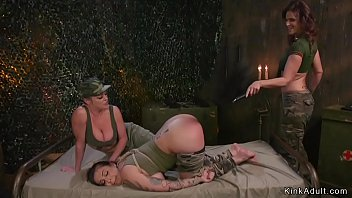 Lesbian Milf commanders anal fisting slave in threesome
