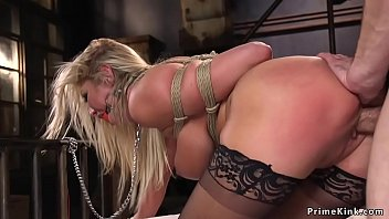 Huge tits blonde babe gets zapper from her master who later anal fucks her in rope bondage