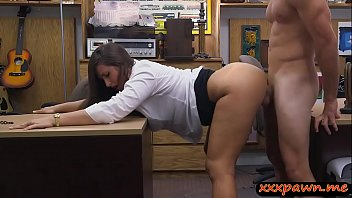 Huge booty brunette woman kneeled down and gives head then gets nailed by pawn dude in his office