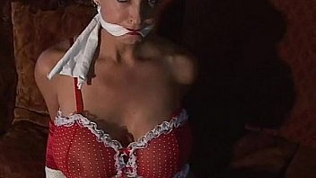 Glamour lingerie model with whopper tits bondage bound and gagged
