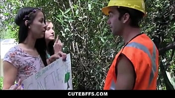 hot teens fucked by tree cutter for earth day