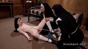 Two dominant nuns Mona Wales and Helena Locke caning shaved pussy to sis Charlotte Sartre