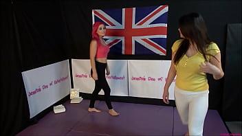 MILF Helena Locke against Dakota Marr in naked women wrestling battle with winner fucking loser roug