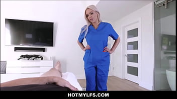 Hot Blonde Nurse MILF Stepmom Takes Care Of Skater Stepson's Dick After Accident POV Thumbnail