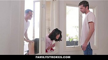 FamilyStrokes - MILF Stuck & Fucked By Both Stepsons