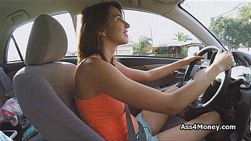 Big tit uber driver blows...