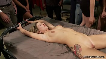 Twenty years old hot blonde slut gets spanked by crowd in public place then tied and made hard fuck