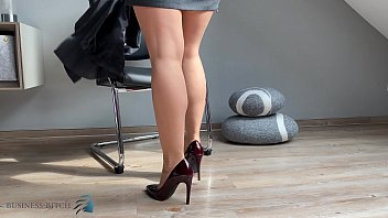 business woman sexy hosed feet plays for you :-)