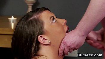 Slutty stunner gets cumshot on her face sucking all the cum
