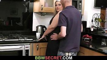 Wife found him fucking BBW at the kitchen
