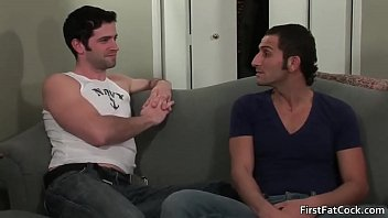 Hot gay threesome action on sofa 4