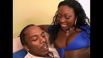 Black stud popped his cookies on face of pretty ebony cutie Xena in blue outfit