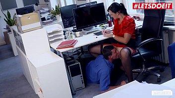 LETSDOEIT - MILF Brunette Sina Velvet Got Pussy Eaten By Work Colleague & Hard Fucked On Office Table