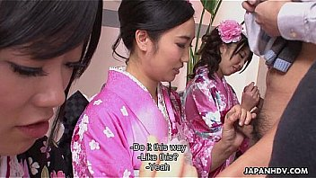 Three Geishas Sucking On One Lonely Cock: Japanese 口内射精