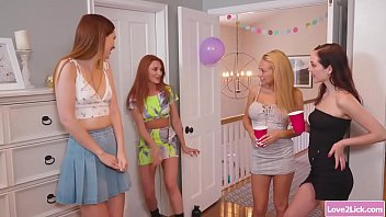 Redhead babe takes 2 stepsiblings to a lesbian threesome