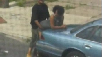 Black Couple fuck in public