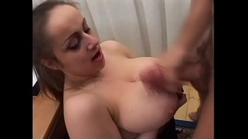 Guy gets his cock, balls, and anus licked by hot female attorney with huge natural knockers in her office