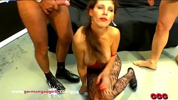 Watch Our Queen_Of Goo MILF Viktoria gets her tight pussy fucked hardcore style and her pretty face cum covered in a huge bukkake gangbang! German Goo Girls preview