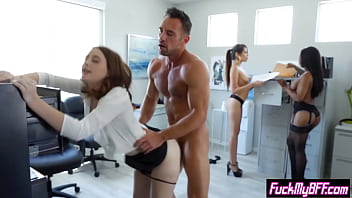 Hot assistant girls banged by a coworker in a group sex