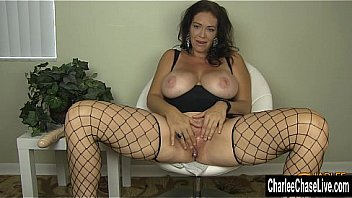 Busty Cougar Charlee Chase In Fishnets Getting Off! Thumbnail