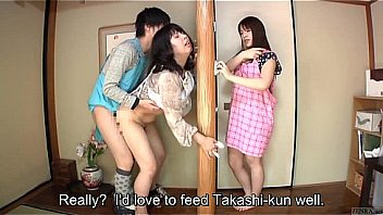 Subtitled Japanese risky sex with voluptuous m. in law