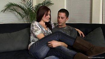 Cute brunette girlfriend with a hot little body gets fucked by her boyfriend