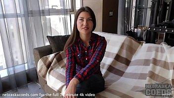 pretty high school european teen doing first time video