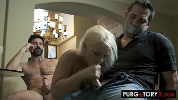 Tiny blonde gets fucked right in front of her husband