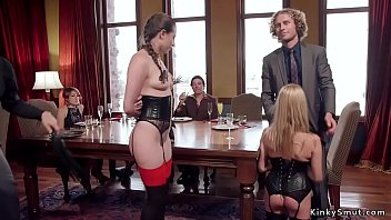 Senior brunette slave Casey Calvert gives lessons to blonde novice babe Cadence Lux and teaches her how to rough fuck and get whip in bdsm party in the upper floor