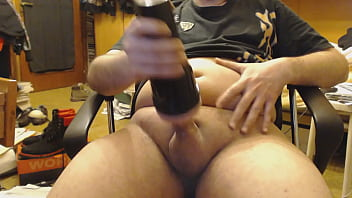 Cumming using FleshLight sex toy for men