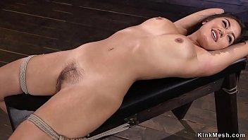 Dark haired Asian beauty pussy finger fucked in rope bondage