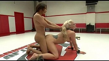 Shemale and girl wrestling and fucking