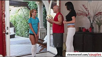 Super hot and sexy teen pornstar Jessie rammed by mature couple and gets facial