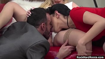 Vinny and two hot babes Amber Jayne and Kira Queen are so fucking horny. Vinny and Kira lick Ambers wet pussy. In return Amber and Kira suck Vinnys big cock together. Finally, Vinny fucks Ambers and Kiras pussy one by one.
