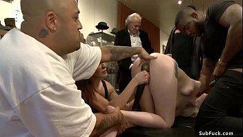 Domme Princess Donna Dolore makes tied pale blonde slave Ranie Mae suck and fuck big black cock in gangbang with John Johnson in public