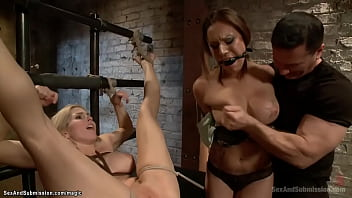 Master John Strong disciplines two big tits slaves Christie Stevens and Tori Avano then in bondage anal fucks them with huge dick in private dungeon
