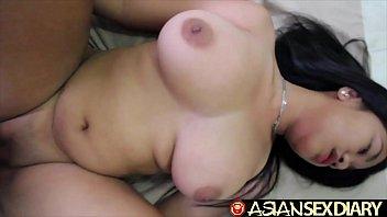 Asian loves hard white cock