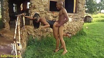 busty african mask milf in hot corset gets big black cock outdoor fucked