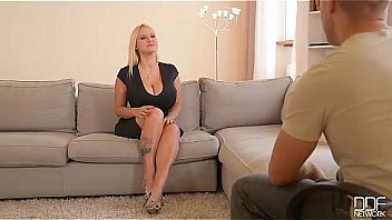 Interview Extraordinaire - Busty Babe Fingers Shaved Pussy