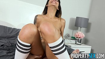 Busted stealing hot brunette roommate babe with tattoos and tight body fucks her way out of trouble