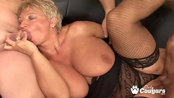 Chubby mature blondie gagging and banging hard on couch Thumbnail