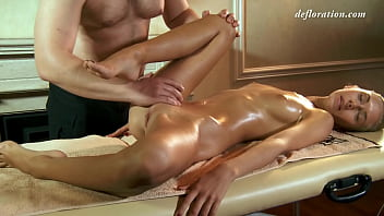 Older masseur takes on a Russian virgin Masha Roofkina